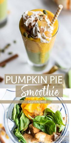 Healthy Smoothies Recipe Green Pumpkin Pie Smoothie / A delicious fall smoothie packed with pumpkin, spinach, and protein! A great healthy breakfast. Smoothie Packs, Smoothie Recipes, Vitamix Recipes, Blender Recipes, Canning Recipes, Salad Recipes, Clean Eating Snacks, Healthy Eating, Green Detox Smoothie