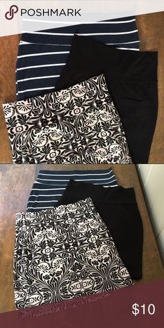 """Bundle of Charlotte Russe Bodycon Mini Skirts Navy blue with stripes: CR's older style. // Black & Damask Print: CR's newer style. 17"""" from waist to hem.  Only worn once each. // Fabric & care: cotton/spandex & machine wash. Charlotte Russe Skirts Mini"""