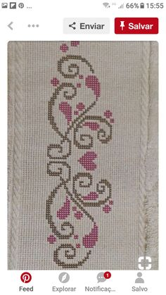 Guardas Cross Stitch Boarders, Cross Stitch Letters, Cross Stitch Art, Cross Stitch Flowers, Folk Embroidery, Cross Stitch Embroidery, Cross Stitching, Heart Border, Needle And Thread