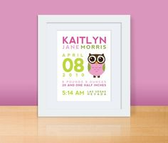 Custom Birth Print Announcement OWL Wall Art by mosieposies