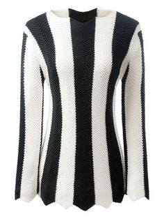 Black and White Striped Long Sleeve Jumper - WHITE/BLACK M