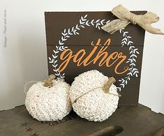 Vintage, Paint and more... vintage pumpkins made by gluing buttonhole trim around a small dollar store pumpkin