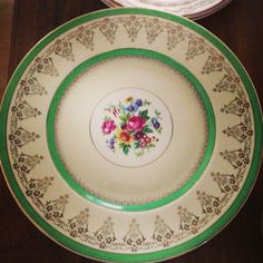 """Myotts Straffordshire china Valencia green 10.2"""" dinner plates - 8 available- Exquisite collection Southern Vintage China Rental"""