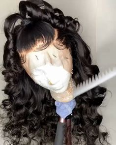 Thriving Hair Brazilian Hair Loose Wave Silk Base Human Hair Wigs With Front Lace and Baby Hairs Source by Wigs girls Wig Styles, Curly Hair Styles, Natural Hair Styles, Human Hair Lace Wigs, My Hairstyle, Lace Hair, Loose Hairstyles, Hairstyles Videos, Green Hair