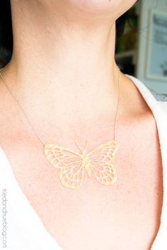 DIY Butterfly Necklace with Washi tape sheets and Silhouette Cameo.