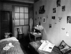 The bedroom shared by Anne Frank and Fritz Pfeffer, refurnished to reflect what it looked like during their time in hiding.