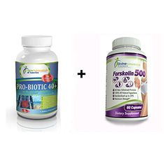Probiotic 40+ Forskolin Fat Burning Belly Buster Extract Rapid Weight Management - Fast Acting Powerful Appetite Suppressant (40 Billion CFU) Immune Support