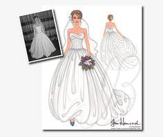 Custom Bridal Illustrations (One 11x14 Front & Back Illustration). $200.00, via Etsy.