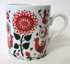 Vintage Folk Birds and Flowers Mug