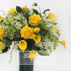 LAMOME纳茉花艺/黄绿色成品花艺套装/黄色玫瑰仿真花/样板房花艺-淘宝网