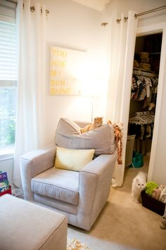 Remove closet door and replace with curtain. Gives more space in small baby room.