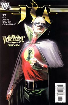 "The spotlight is on Green Lantern Alan Scott (aka Sentinel) in this painted cover by Alex Ross! After his prime, he married female foes (reformed, of course) and sired superheroes. ""The New 52"" changes all that (that is SO gay: the new old Green Lantern is now homosexual)."