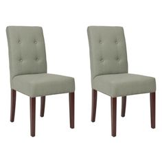 Metro Tufted Grey Linen Side Chairs (Set of 2) | Overstock.com