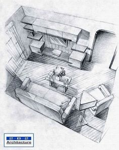Living room top view sketch