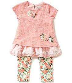 dc6325d092a6 Rare Editions Little Girls 2T-6X Floral-Appliqué Lace Top and Floral  Leggings Set | Dillards