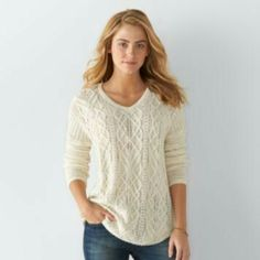 Women's Chaps Cable-Knit V-Neck Sweater SALE $19.99 | Kohl's ...