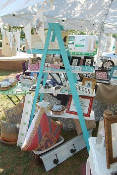Craft show booth display take a lot of planning & creativity and trial & error. When I started to doing craft shows my display was flat,. Craft Fair Displays, Market Displays, Booth Displays, Store Displays, Window Displays, Ladder Display, Ladder Shelves, Shelf Display, Ladder Storage