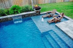 110 Amazing Small Backyard Designs With Swimming Pool – - Hinterhof Inground Pool Designs, Swimming Pool Designs, Small Swimming Pools, Swimming Pools Backyard, Pool Spa, Small Pools, Small Decks, Gunite Swimming Pool, Swimming Tips