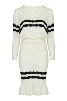 Stripe Pattern Pullover Design Long Sleeve Skirt Co-ord