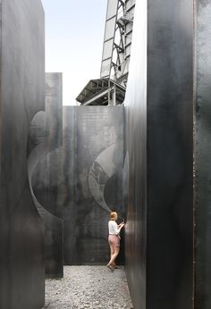 Pieterjan Gijs and Arnout van Verenbergh of Gijs Van Vaerenbergh have created 'Labyrint', a giant steel maze located at the C-MINE Art Centre in Genk, Belgium, that has 1km of path to get lost in.