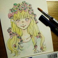 strawberry fairy #mekaworks #drawing #fantasy #strawberry