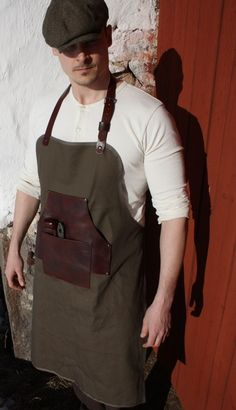reclaimed leather and army green canvas mens utility apron