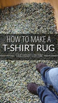 to make a latch-hook t-shirt rug with this tutorial. Includes material list, step-by-step instructions, and a video. By Learn to make a latch-hook t-shirt rug with this tutorial. Includes material list, step-by-step instructions, and a video. T Shirt Yarn, T Shirt Diy, T Shirt Rugs, Shirt Quilt, Diy Carpet, Rugs On Carpet, Carpet Ideas, Beige Carpet, Stair Carpet