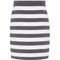 Hallhuber Block-stripe skirt ($72) ❤ liked on Polyvore featuring skirts, clearance, midnight, white knee length skirt, cotton skirt, fitted skirts, stripe skirt and white cotton skirt