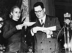 General and Eva Peron during the ceremony in September 1951, when she received a special medal from The Order of the Peronista in recognition of her services.