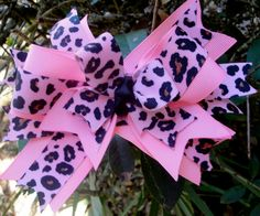 pink leopard print boutique bow by Hollywoodtutu on Etsy