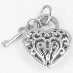 Silver Charm. 3D Filigree Heart n Key Charm. Style # 8365 See more silver charms at http://www.charmnjewelry.com/sterling-silver-charms.htm