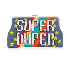 Sarah's Bag Super Duper embellished clutch ($567) ❤ liked on Polyvore featuring bags, handbags, clutches, multi, embellished purse, stripe purse, embroidered purse, white handbags and man bag