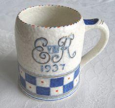 Coronation of King Edward VIII commemorative pottery tankard by Charlotte Rhead (Crown Ducal) (SOLD) - www.vanishederas.com