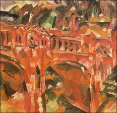 Red bridge (1918) Aristarkh Vasílievich Lentulov (Аристарх Васильевич Лентулов. Unión Soviética. Rusia, 1882-1943)