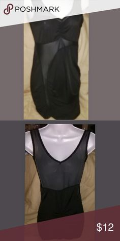 Ladies mini dress Sleeveless (tank top style)mini with mesh cut outs in front..upper back is mesh..100% polyester.. so it stretches well..great party/club dress..Excellent condition! Dresses Mini