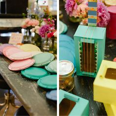 Creative activity stations for kids' birthday party