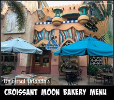 Croissant Moon Bakery menu at Islands of Adventure at Universal Orlando Resort offers a delicious menu for breakfast, lunch or dinner. Cruise Vacation, Disney Vacations, Family Vacations, Universal Studios Restaurants, Downtown Disney, Orlando Disney, Bakery Menu, Road Trip Essentials, Universal Orlando