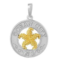 Amazon.com: Sterling Silver Silver Travel Charm Pendant Ss Ocean City,nj On Round Frame W 14K Starfish Center: Million Charms: Jewelry