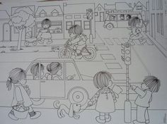 Verkeer Spanish Activities, Printable Crafts, Kids Corner, Black N White, Coloring Pages For Kids, Kids And Parenting, Art Lessons, Pencil Drawings, Art For Kids