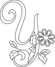 Hand drawn letters with floral detail