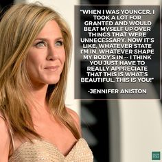 Jennifer Aniston talks about accepting your own beauty. This is seriously why she's a major girl crush. Jennifer Aniston Quotes, Jennifer Aniston Style, Jenifer Aniston, Boss Babe Quotes, Me Quotes, Actor Quotes, Meaningful Quotes, Inspirational Quotes, Uplifting Quotes