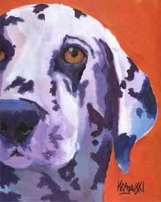 Sur lEstampe : Cet art de Dalmatie édition open impression est dune peinture originale de Ron Krajewski. Art imprimer mesures 8 x 10 pouces et