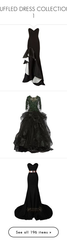 """""""RUFFLED DRESS COLLECTION 1"""" by kuropirate ❤ liked on Polyvore featuring dresses, gowns, long dresses, party gowns, party dresses, jovani gown, long strapless dresses, black and white party dresses, marchesa and black"""