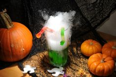 Spooky Halloween Fog Drink  Fill your glass with colorful drink like Gatorade or Kool-Aid  Add gummy worms or other creepy crawlies to the edge of the glass for an extra spooky effect.  Using tongs or gloves add in a few small pieces of dry ice.   Wait until fog clears to take a drink or just sip the drink from the top without letting the dry ice actually go into your mouth.