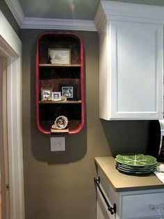 Red Wagon Shelf. What an oh so cute idea to reuse a pull along wagon.