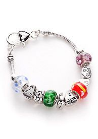 Kim Rogers® Inspirational Multi Glass Bead Charm Slider Bracelet