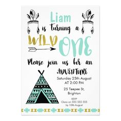 Boys Teepee Tribal Wild One Birthday Invitation