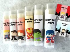 This listing is for a set of 6 Custom Superhero Lip Balms - Personalization is FREE - See checkout info below.  ***This item can be personalized
