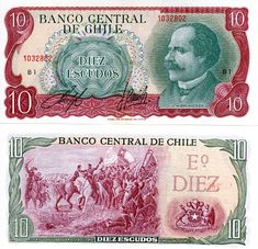 SCWPM P142Aa TBB B278a 10 Escudos Chilean Banknote Uncirculated UNC (ND) | Kate's Paper Money Chile, Ancient Alphabets, Money Notes, Back Painting, Science Experiments, Ephemera, Stamps, Printables, World