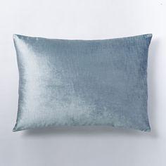 Cotton Luster Velvet Standard Sham, Dusty Blue